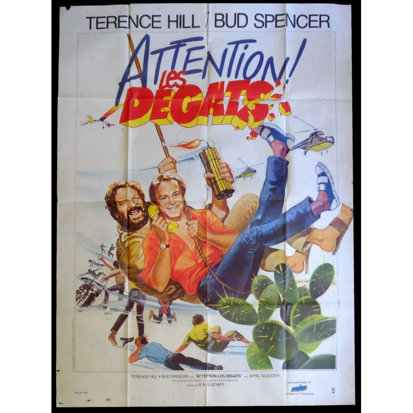 ATTENTION LES DEGATS Affiche de film 120x160 - 1984 - Terence Hill, Bud Spencer, Enzo Barboni