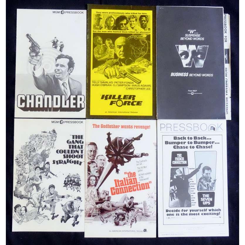 CRIME LOT 4 US Pressbook lot 11x15 - 1970's - William Friedkin, Telly Savalas, Gene Hackman