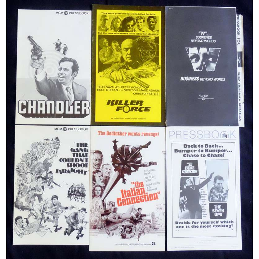 CRIME LOT 4 US Pressbook lot 11x15 - 1970's - William Friedkin, Telly Savalas, Gene Hackman