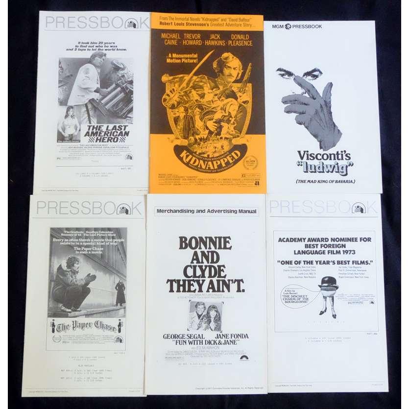 LOT 2 Dossiers de presse 28x43 - 1970's - Michael Caine, Jane Fonda, Bunuel, Visconti