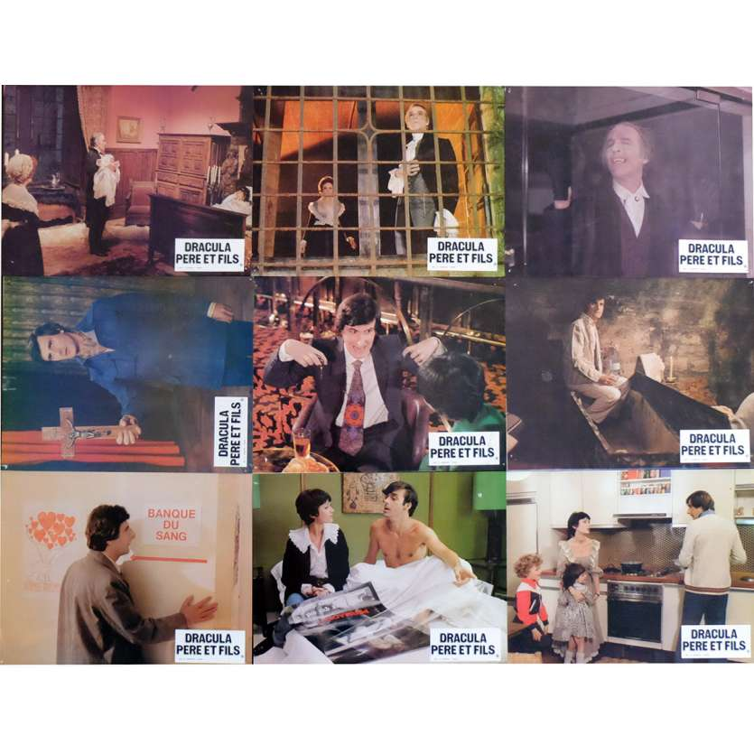 DRACULA AND SON French Lobby Cards x9 9x12 - 1976 - Edouard Molinaro, Christopher Lee