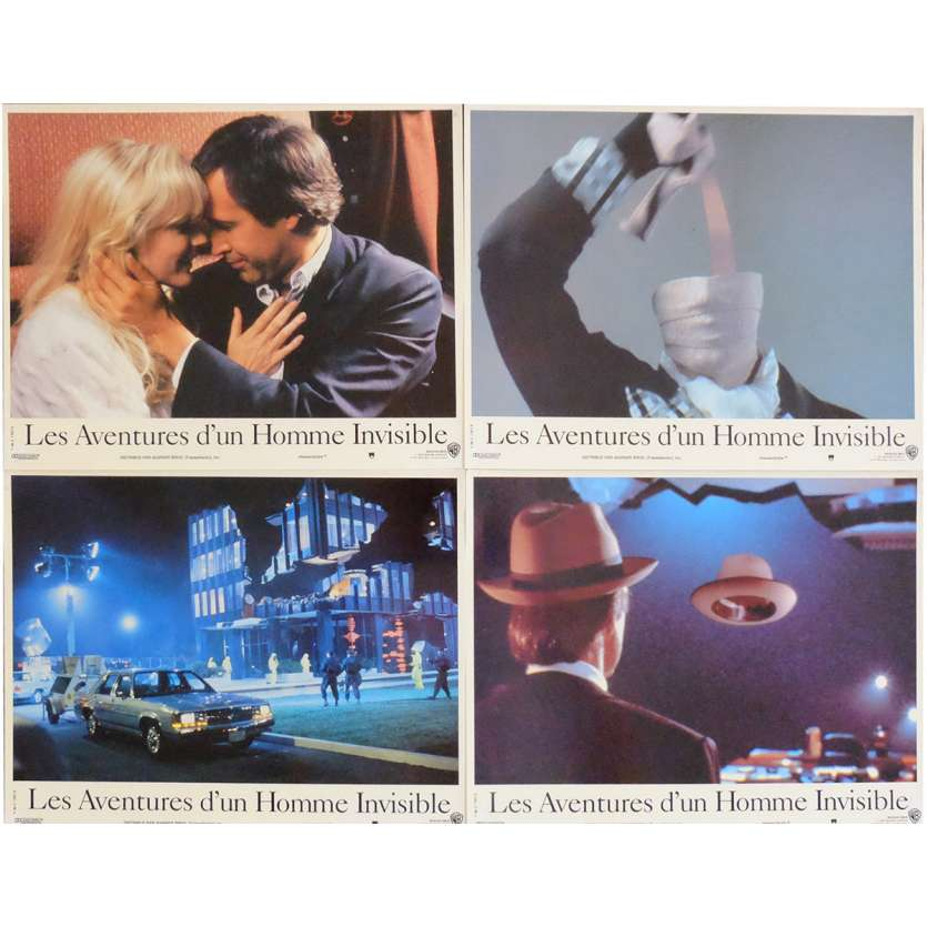 INVISIBLE MAN French Lobby Cards x4 9x12 - 1992 - John Carpenter, Chevy Chase