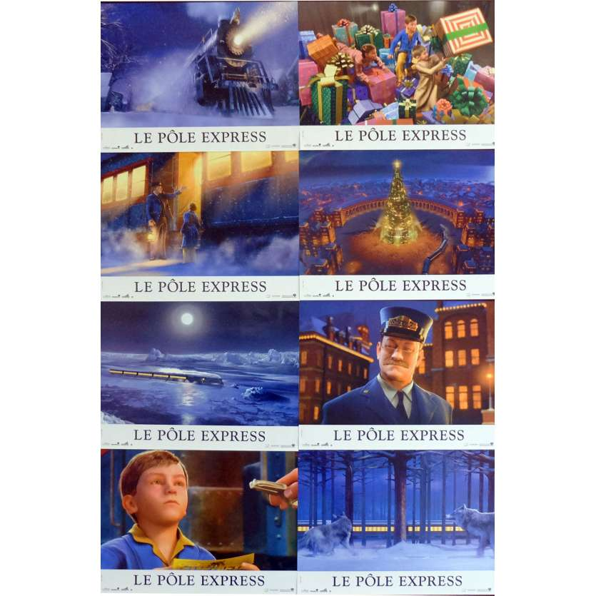 POLAR EXPRESS French Lobby Cards x8 9x12 - 2004 - Robert Zemeckis, Tom Hanks