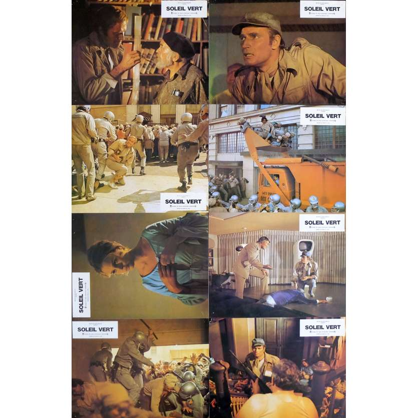 SOYLENT GREEN French Lobby Cards x8 9x12 - 1973 - Richard Fleisher, Charlton Heston