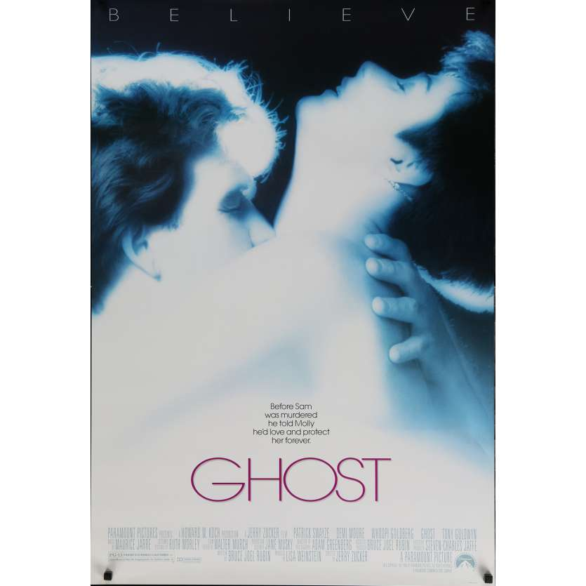 GHOST Movie Poster 29x41 in. USA - 1990 - Jerry Zucker, Patrick Swayze, Demi Moore