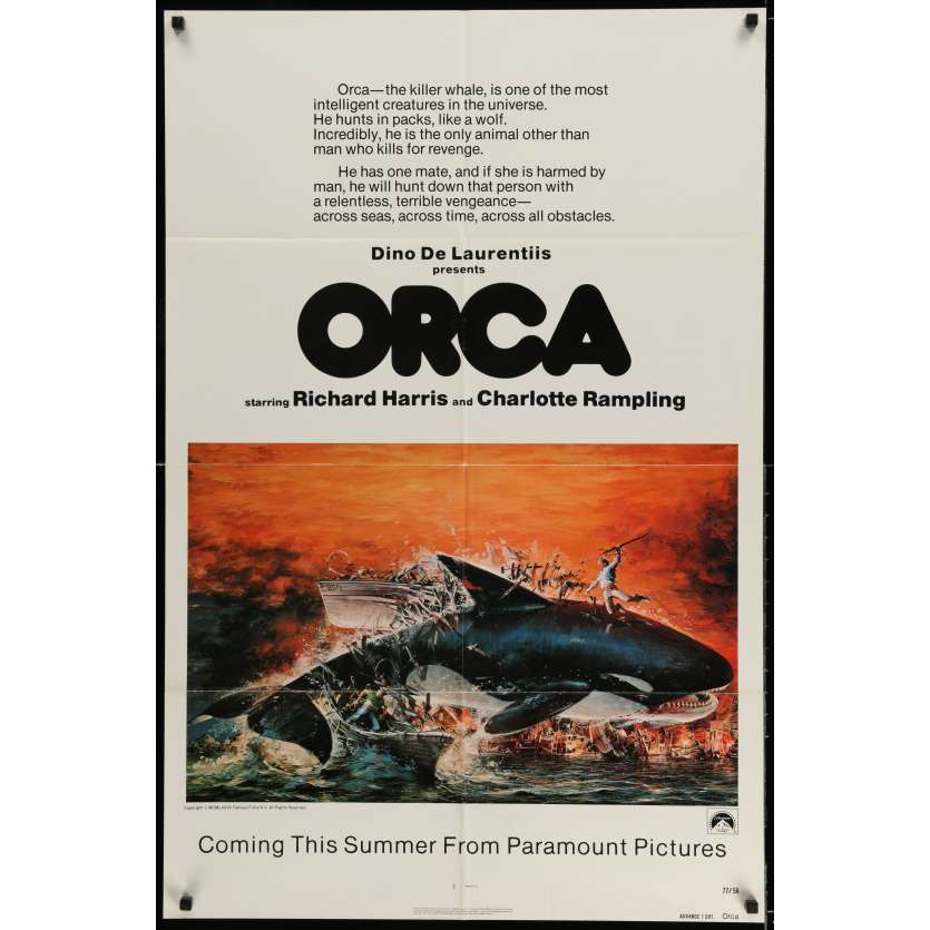 ORCA Movie Poster 29x41 in. USA - 1977 - Michael Anderson, Richard Harris