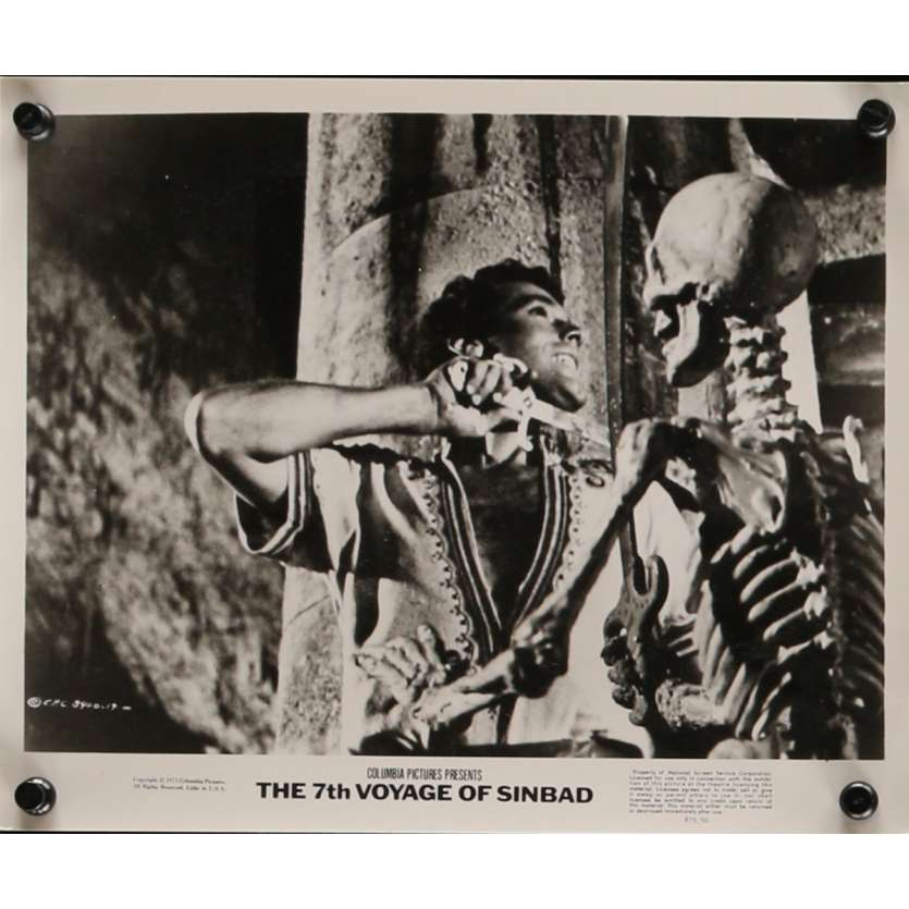 LE 7E VOYAGE DE SINBAD Photo de presse N3 20x25 cm - R1975 - Kervin Mathews, Ray Harryhausen