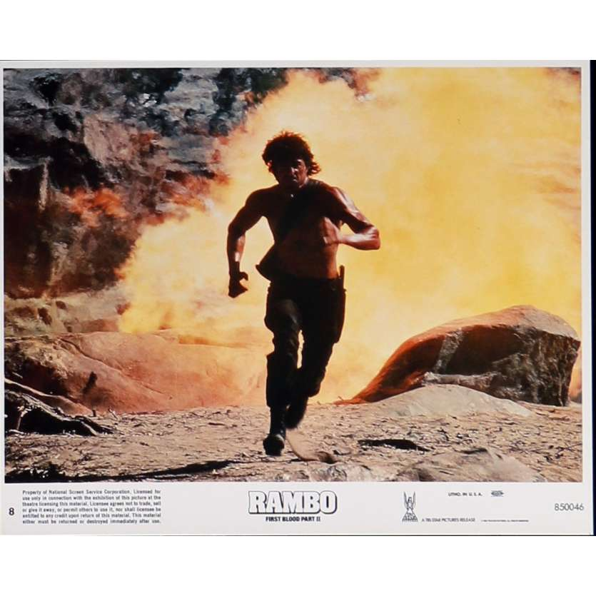 RAMBO FIRST BLOOD PART II Lobby Card N8 8x10 in. USA - 1985 - George P. Cosmatos, Sylvester Stallone