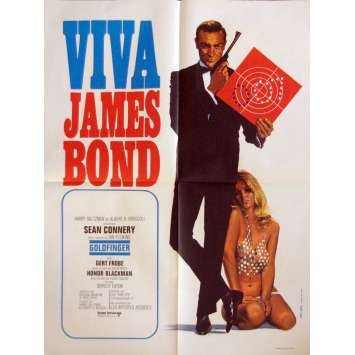 VIVA JAMES BOND - GOLDFINGER French Movie Poster 23x32- 1970 - Guy Hamilton, Sean Connery