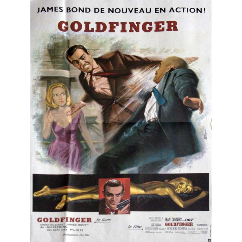 GOLDFINGER Affiche de film 40x60 C8 - R-1980 - Sean Connery, James Bond