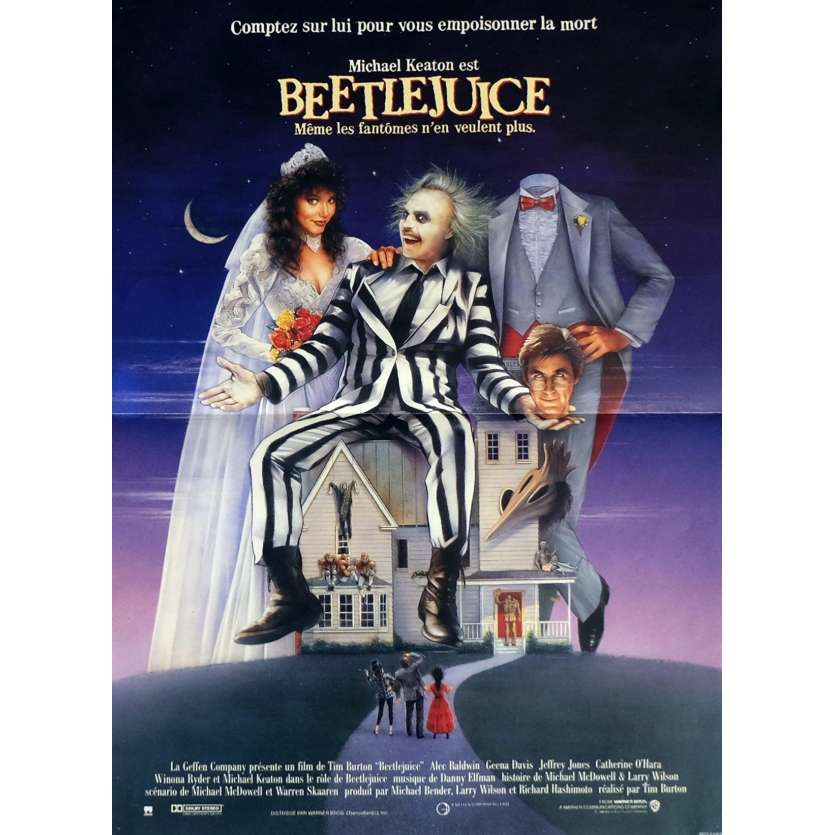 BEETLEJUICE Movie Poster 15x21 in. French - 1988 - Tim Burton, Michael Keaton