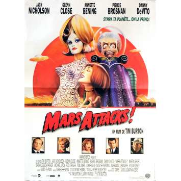 MARS ATTACKS Movie Poster 15x21 in. French - 1996 - Tim Burton, Jack Nicholson