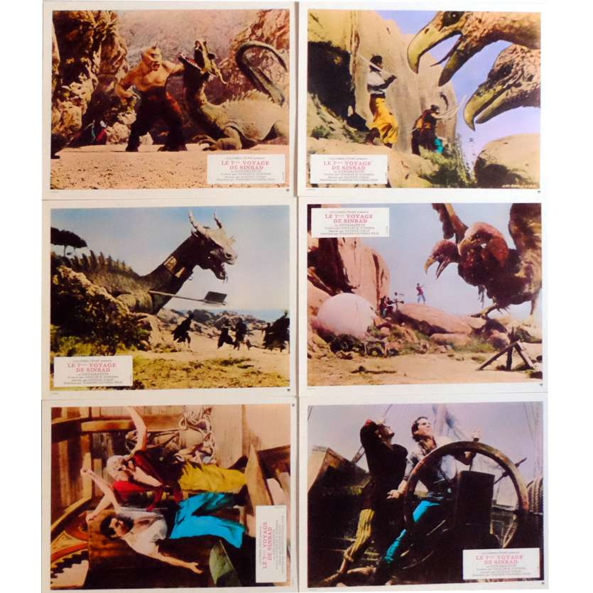 7th VOYAGE OF SINBAD Lobby Cards x6 9x12 in. French - 1975 - Ray Harryhausen, Kervin Mathews