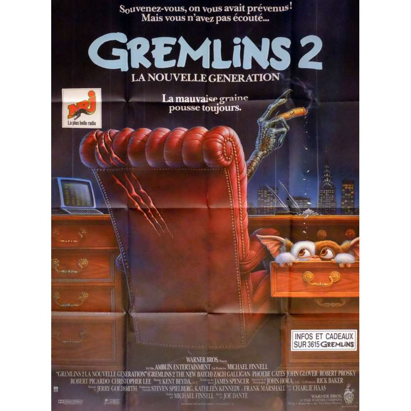 GREMLINS 2 Affiche de film 120x160 cm - 1990 - Zach Galligan, Joe Dante
