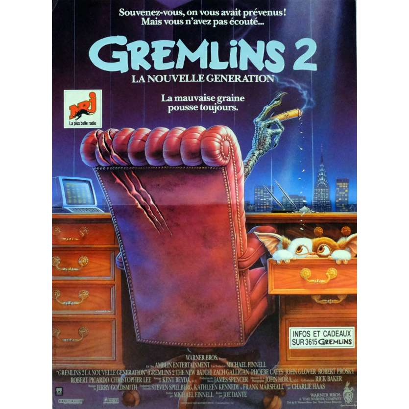 GREMLINS 2 Movie Poster 15x21 in. French - 1990 - Joe Dante, Zach Galligan