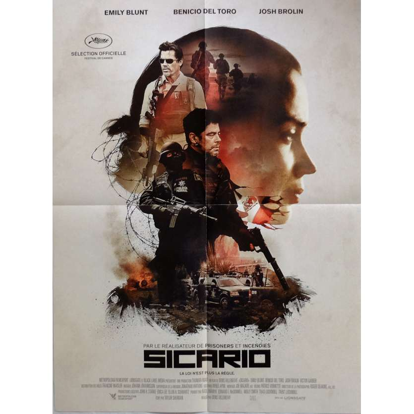 SICARIO Movie Poster 15x21 in. French - 2015 - Dennis Villeneuve, Benicio Del Toro