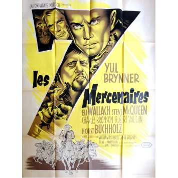 MAGNIFICENT SEVEN Movie Poster 47x63 in. French - 1961 - Yul Brynner, Steve McQueen