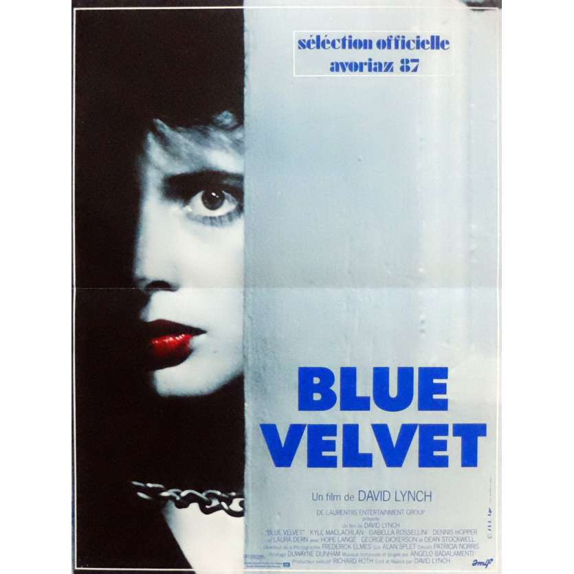 BLUE VELVET Movie Poster 15x21 in. French - 1986 - David Lynch, Isabella Rosselini