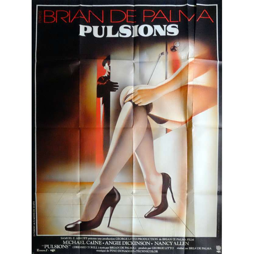 DRESSED TO KILL Movie Poster 47x63 in. French - 1980 - Brian de Palma, Michael Caine