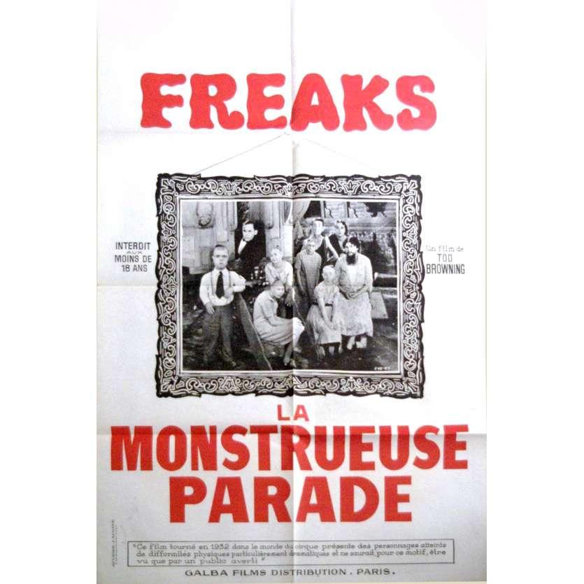 FREAKS Affiche cinéma '60 FR Rare! Tod Browning Vintage Movie Poster