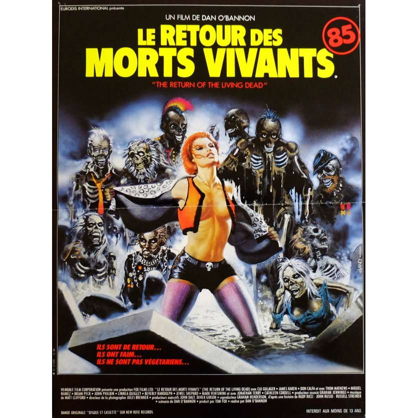 THE RETURN OF THE LIVING DEAD Movie Poster 15x21 in. French - 1985 - Dan O'Bannon, Clu Gulager