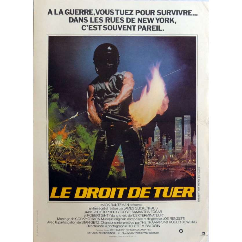 THE EXTERMINATOR Movie Poster 15x21 in. French - 1980 - James Glickenhaus, Robert Ginty