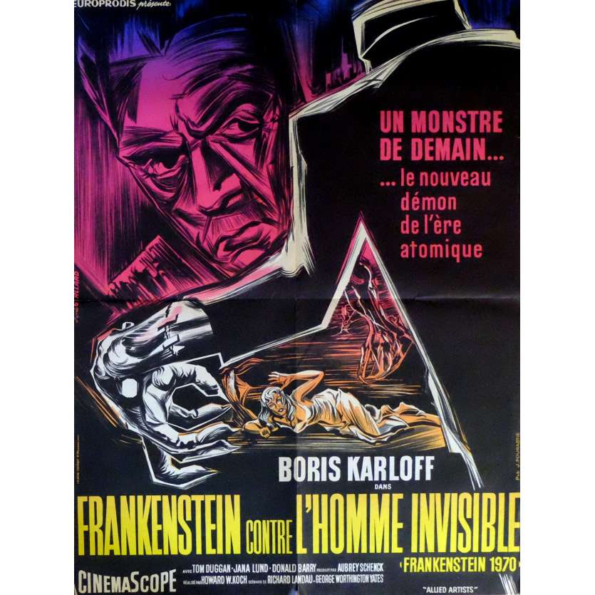 FRANKENSTEIN CONTRE L'HOMME INVISIBLE Affiche de film 60x80 cm - 1958 - Boris Karloff, Howard Koch