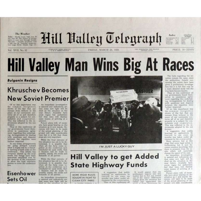 BACK TO THE FUTURE II Newspaper Prop - Hill Valley Man