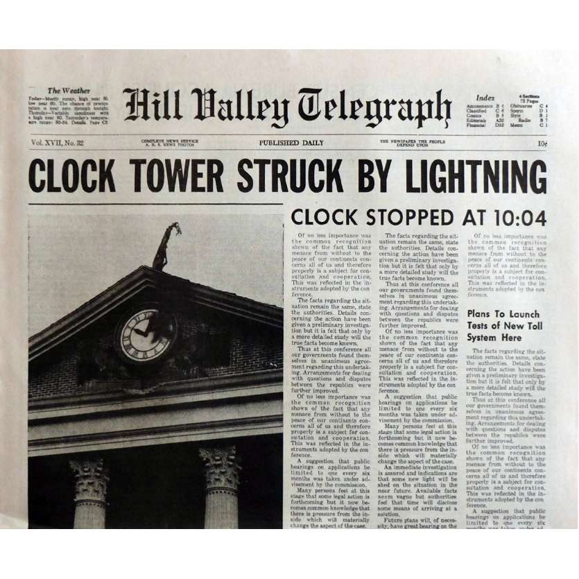 BACK TO THE FUTURE Newspaper Prop Replica Clock Tower 15x21 in. USA - 1985 - Robert Zemeckis, Michael J. Fox