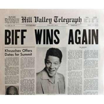 BACK TO THE FUTURE II Newspaper Prop Replica Biff Wins Again 15x21 in. USA - 1989 - Robert Zemeckis, Michael J. Fox