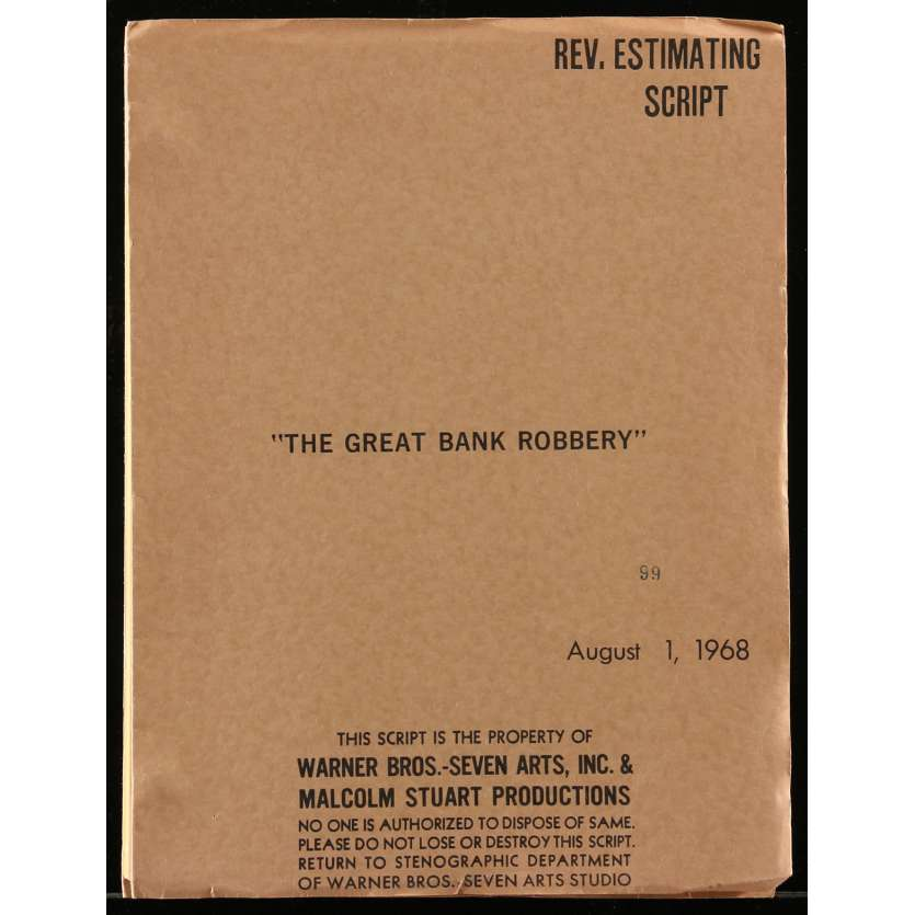 GREAT TRAIN ROBBERY Movie Script 9x12 in. USA - 1979 - Michael Crichton, Sean Connery