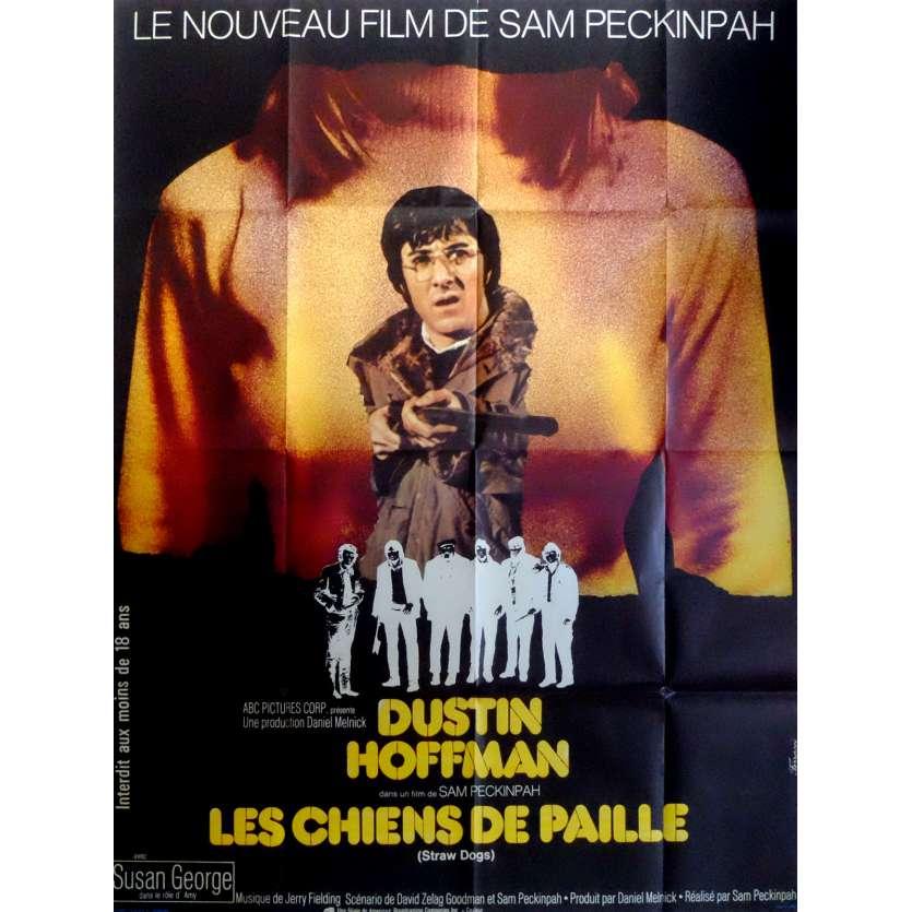 LES CHIENS DE PAILLE Affiche de film 120x160 cm - 1971 - Dustin Hoffman, Sam Peckinpah