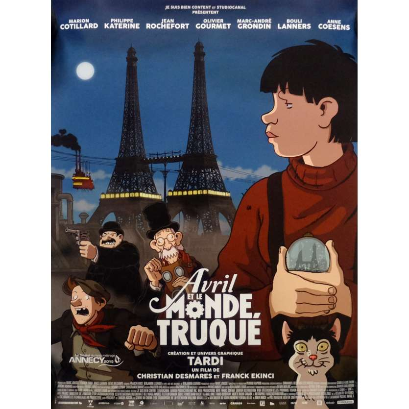 AVRIL ET LE MONDE TRUQUÉ Movie Poster def. 15x21 in. French - 2015 - Jacques Tardi, Marion Cotillard