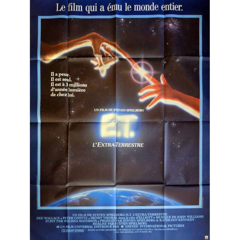 E.T. THE EXTRA-TERRESTRIAL Movie Poster 47x63 in. French - 1985 - Steven Spielberg, Dee Wallace