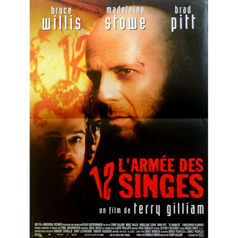 12 MONKEYS Movie Poster 15x21 in. French - 1995 - Terry Gilliam, Bruce Willis
