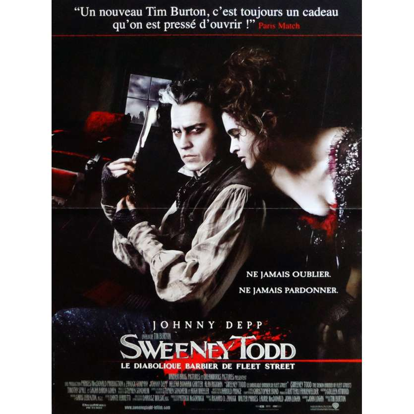 SWEENEY TODD Movie Poster 32x47 in. French - 2007 - Tim Burton, Johnny Depp