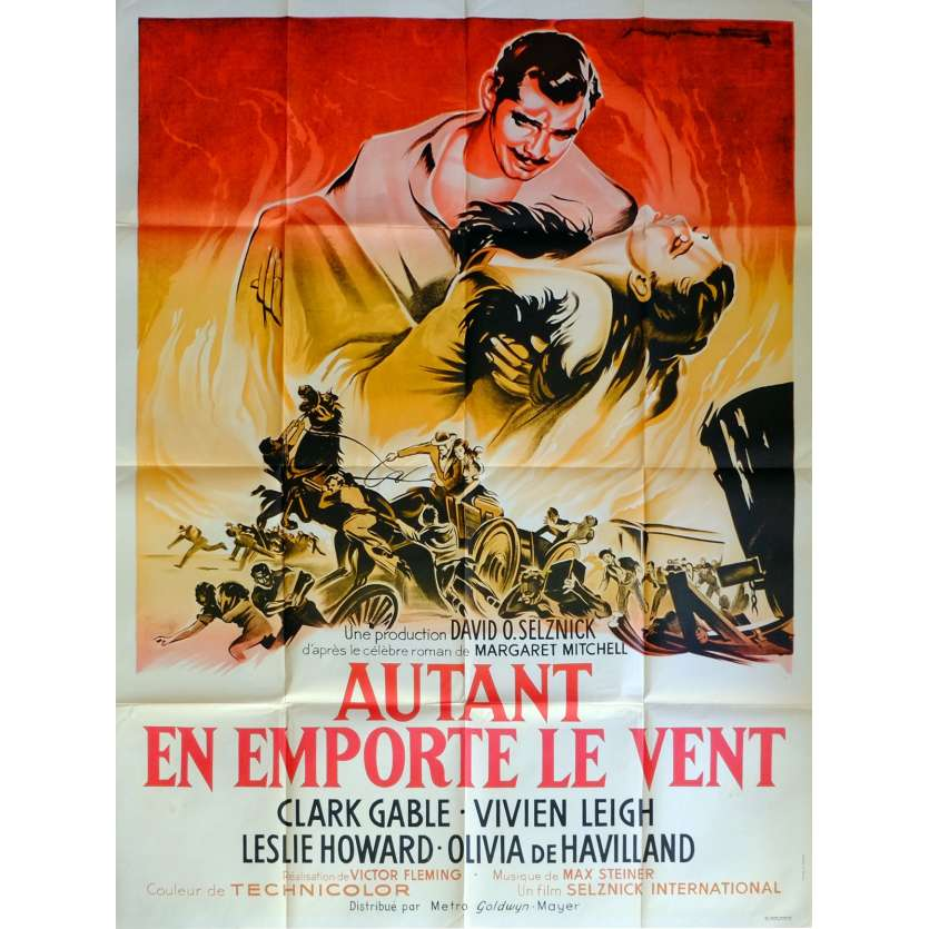 GONE WITH THE WIND Movie Poster 47x63 in. French - R1960 - Victor Flemming, Clark Gable