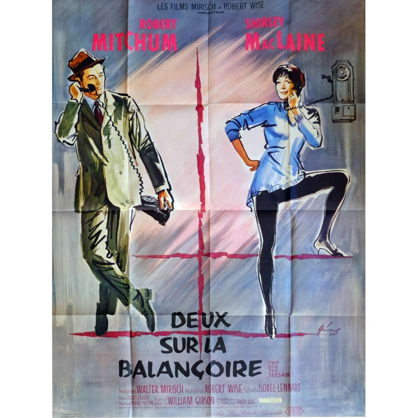 TWO FOR THE SEE SAW Movie Poster 47x63 in. French - 1962 - Robert Wise, Robert Mitchum