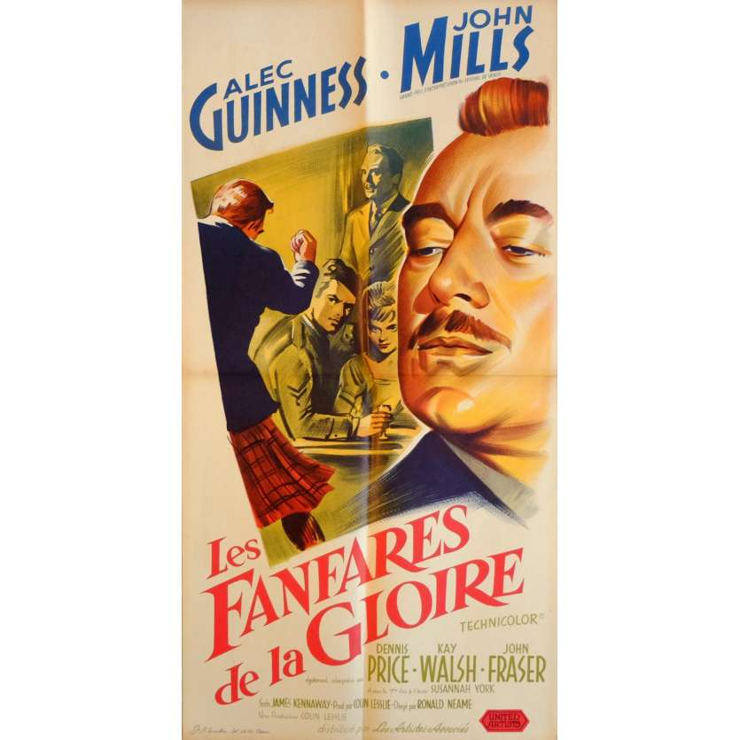 TUNES OF GLORY Movie Poster 15x32 in. French - 1960 - Ronald Neame, Alec Guiness