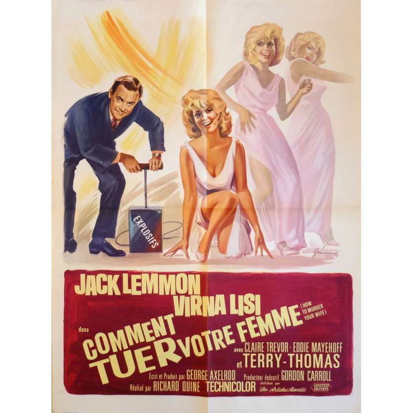HOW TO MURDER YOUR WIFE Movie Poster 23x32 in. French - 1965 - Richard Quine, Jack Lemmon