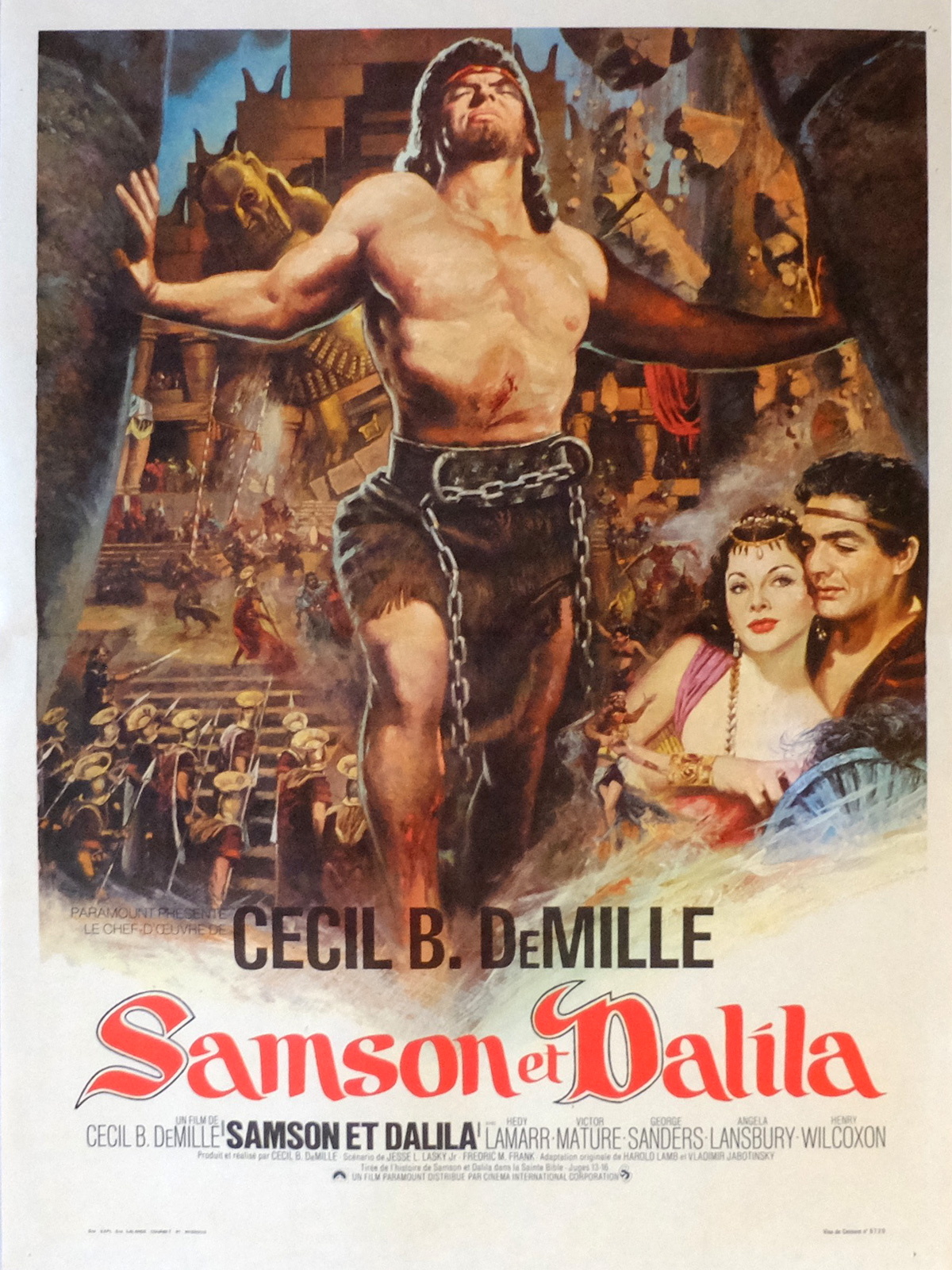 Samson And Delilah Movie Poster 15x21 In French R1970 Cecil B Demile Victor Mature