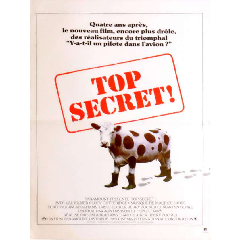 TOP SECRET Affiche de film 40x60 - 1984 - Val Kilmer, , Omar Sharif