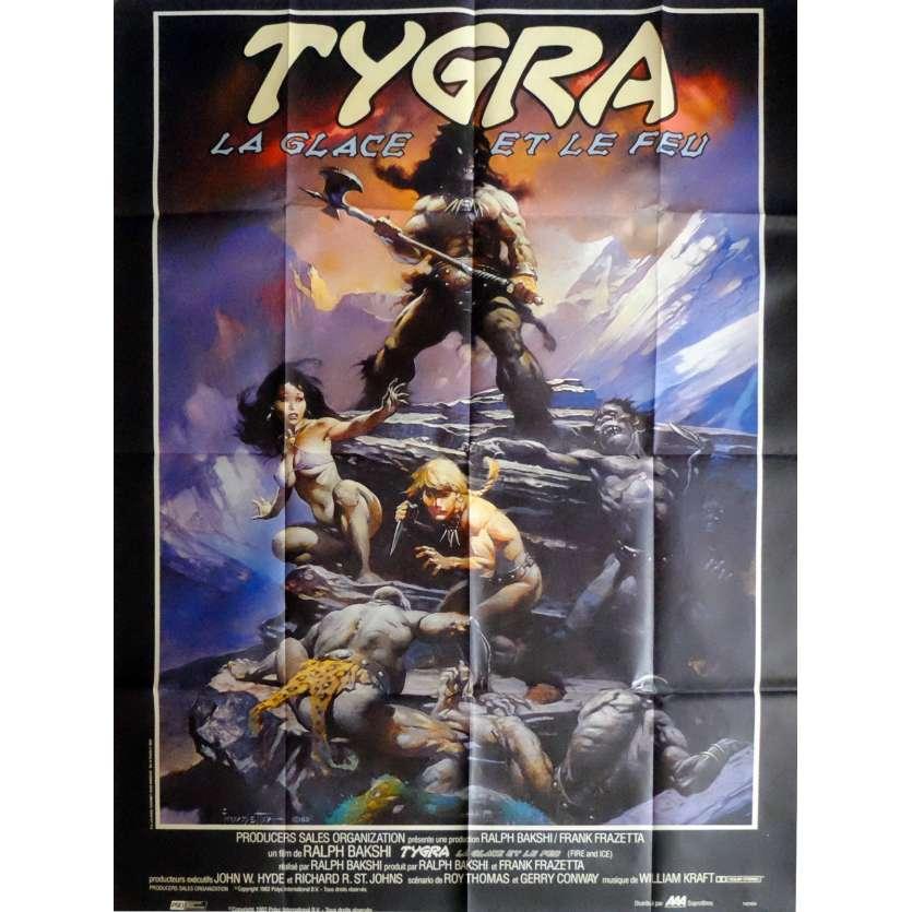 TYGRA LA GLACE ET LE FEU Affiche 120x160 FR '82 Bakshi, Frazetta Poster