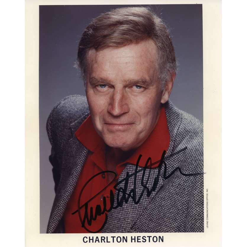 CHARLTON HESTON Signed Photo 8x10 in. French - 1970 - 0, 0