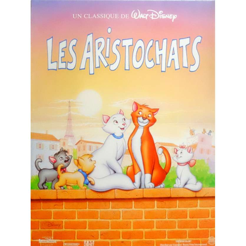 THE ARISTOCATS Movie Poster 15x21 in. French - R1990 - Walt Disney, Phil Harris