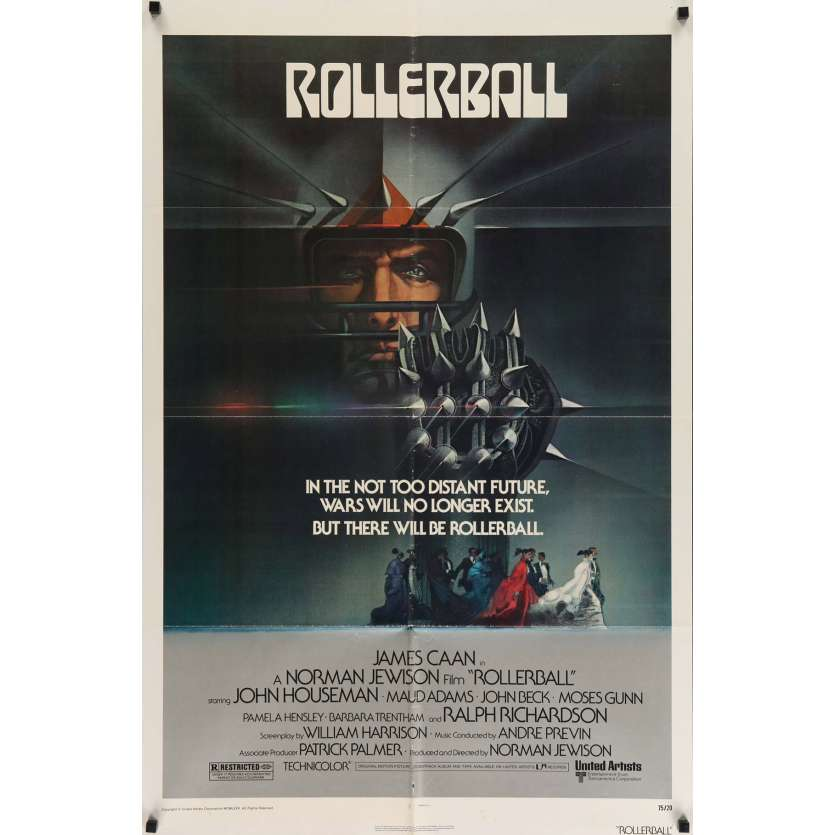 ROLLERBALL Movie Poster 29x41 in. USA - 1975 - Norman Jewinson, James Caan