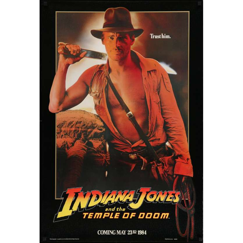 INDIANA JONES AND THE TEMPLE OF DOOM Movie Poster Teaser 29x41 in. USA - 1984 - Steven Spielberg, Harrison Ford