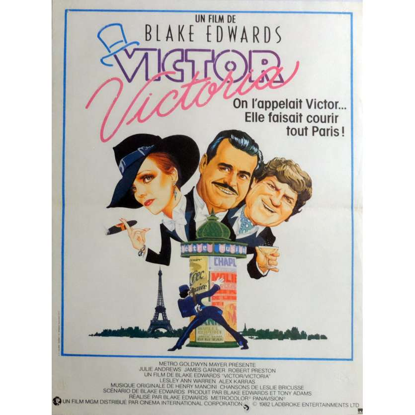 VICTOR VICTORIA Movie Poster 15x21 in. French - 1982 - Blake Edwards, Julie Andrews