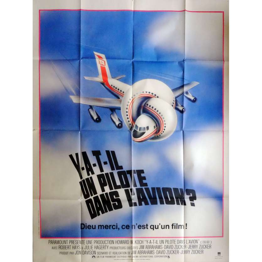 AIRPLANE Movie Poster 47x63 in. French - 1980 - David Zucker, Leslie Nielsen
