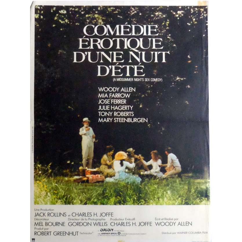 A MIDSUMMER NIGHT'S SEX COMEDY Movie Poster 15x21 in. French - 1982 - Woody Allen, Mia Farrow